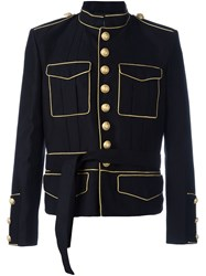 Balmain Tied Waist Military Jacket Black
