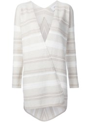 Derek Lam 10 Crosby Striped Open Cardigan Nude And Neutrals