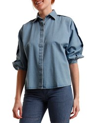 Courtshop Mindy Pleated Sleeve Blouse Blue
