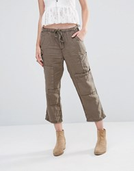 Free People Utility Cropped Trousers Army Green
