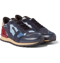 Valentino Leather Suede And Denim Sneakers Navy
