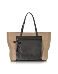 Sonia Rykiel Ambroise Color Block Leather Tote Camel