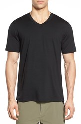 Men's Ibex 'Axis' V Neck Merino Wool Jersey T Shirt Black