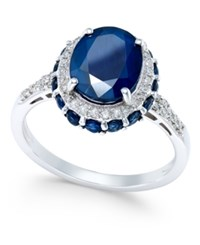 Macy's Blue Sapphire 4 Ct. T.W. And White Sapphire 1 3 Ct. T.W. Oval Ring In 10K White Gold
