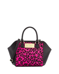 Betsey Johnson Leopard Print Wing Satchel Pink