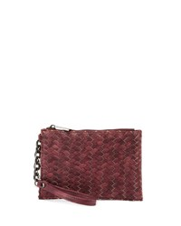 Neiman Marcus Woven Zip Top Faux Leather Wristlet Burgundy