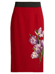 Dolce And Gabbana Tulip Applique Stretch Wool Pencil Skirt Red Multi
