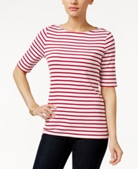 Charter Club Pima Cotton Striped Boat Neck Tee Only At Macy's Red White