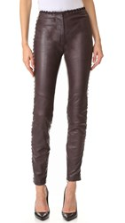 Just Cavalli Lace Trim Leather Pants Granato