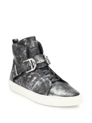 Bally Heilwing High Top Leather Sneakers Old Silver
