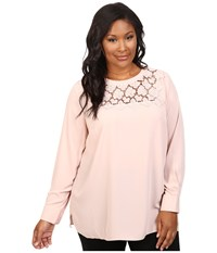 Vince Camuto Plus Size Long Sleeve Blouse With Embroidered Lace Yoke Rosy Flush Women's Blouse Multi