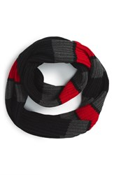 Women's Michael Michael Kors Rugby Stripe Fisherman Infinity Scarf Black Black Red Blaze Derby