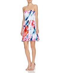 Aqua Watercolor Scuba Strapless Midi Dress Pink Blue Multi