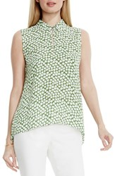 Vince Camuto Women's Print Collared Keyhole Neck Sleeveless Blouse Summer Green