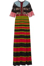 Gucci Sequin Embellished Lace And Striped Crepe Gown Black Red