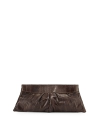 Lauren Merkin Eve Pleated Eel Skin Clutch Bag Chocolate