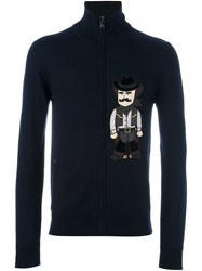 Dolce And Gabbana Cowboy Patch Zip Cardigan Blue