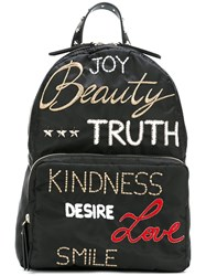 Red Valentino Embroidered Words Backpack Black