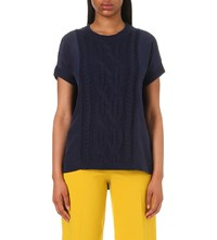 Karen Millen Cable Knit Jumper Navy