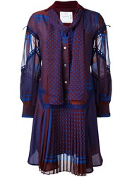Sacai Multi Pattern Ruffled Dress Blue