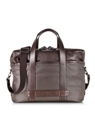 The Bridge By Pininfarina Khaki And Brown Leather Messenger Briefcase