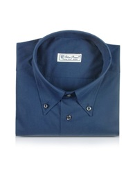 Forzieri Blue Roses Solid Blue Button Down Cotton Dress Shirt