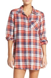 Make Model Women's Plaid Cotton Blend Nightshirt Blue Illusion Lucy Plaid