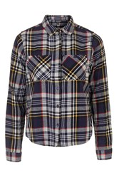 Topshop Cropped Checked Shirt Light Grey