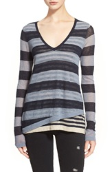 Autumn Cashmere Multi Stripe Layered V Neck Cashmere Sweater Navy Oatmeal Chambray