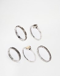 Asos Etched Ring Stack Pack Mixed Metal Multi