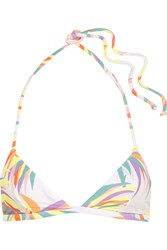 Agent Provocateur Tayler Printed Halterneck Bikini Top White Lilac
