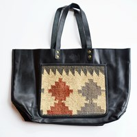 Boho Gypsy Annah Leather And Kilim Naked Toteblack