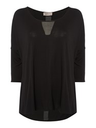 Label Lab Chiffon Mix Long Sleeve Top Black