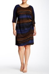 Robbie Bee Dolman Sleeve Side Tie Dress Plus Size Multi