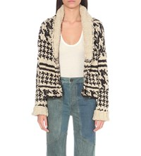 Free People Houndstooth Knitted Cardigan Black And White Combo