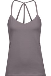 Yummie Tummie By Heather Thomson Hillary Mesh Trimmed Stretch Jersey Tank Gray
