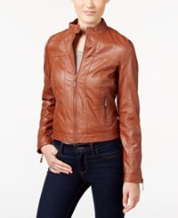 Joujou Jou Jou Juniors' Zipper Front Faux Leather Jacket Brandy
