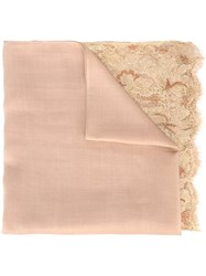 Valentino Lace Hem Scarf Nude And Neutrals