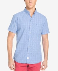 Izod Men's Big And Tall Mini Plaid Short Sleeve Shirt Classic Fit Blue Revival