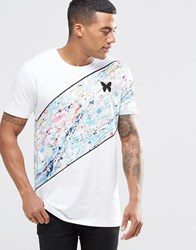 Good For Nothing T Shirt With Diagonal Stripe In Paint Splatter White