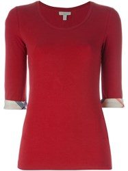 Burberry Brit House Check Cuffs 3 4 Sleeve T Shirt Red