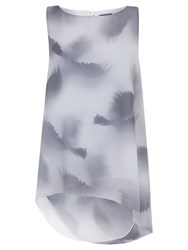 Mint Velvet Cara Print Asymmetric Tunic Top Dove Grey Ivory