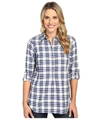 Hatley Bonded Plaid Pop Over Shirt Cream Navy Women's Clothing Multi