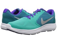 Nike Revolution 3 Clear Jade Metallic Silver Fierce Purple Green Women's Running Shoes Blue