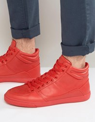 Pull And Bear Pullandbear Faux Leather Hi Top Trainers In Red Red