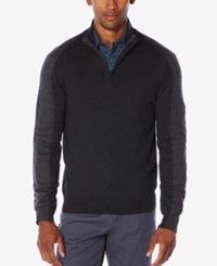 Perry Ellis Men's Colorblocked Quarter Zip Sweater Black Heather
