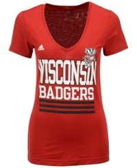 Adidas Women's Wisconsin Badgers Stripe Stack T Shirt Red