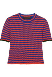Proenza Schouler Striped Ribbed Silk And Cashmere Blend Sweater Red