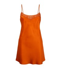 Marjolaine Short Bow Satin Chemise Female Orange