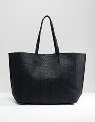 New Look Snake Effect Shopper Bag Black
